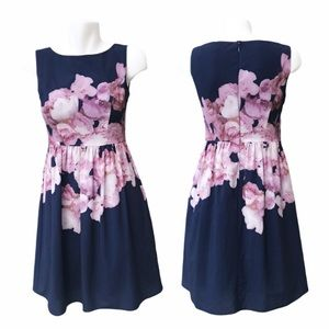 Adrianna Papell Floral Sleeveless Fit Flare Dress